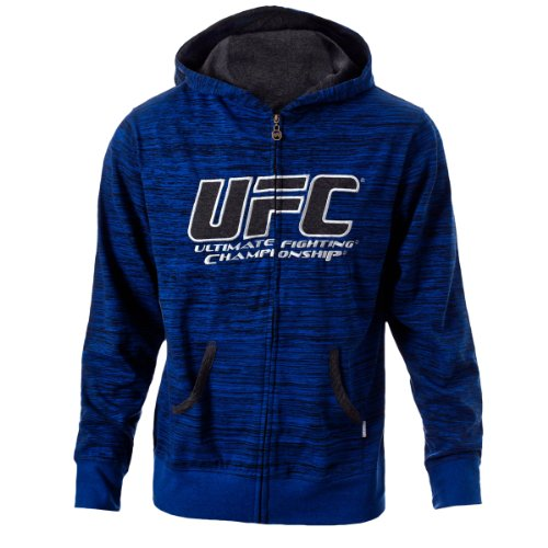 UFC Men's Cobalt/Grey Twisted Zip Up Hoodie (Medium) Large