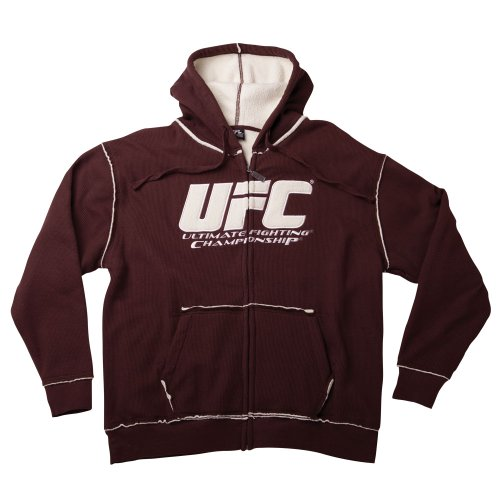 UFC Men's Sherpa Fleece Zip Hoodie (Brown/Cream, X-Large) Large