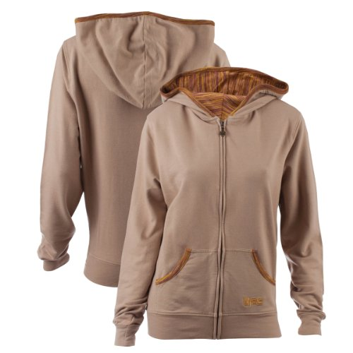 UFC Womens Daydreamer Zip Hoodie, Small, Brown Large