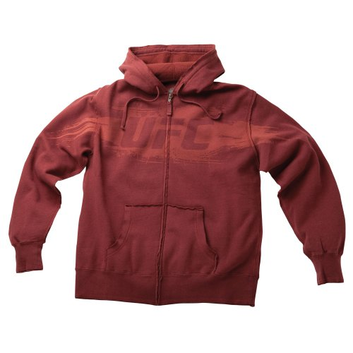 UFC Men's Unraveled Zip Hoodie (Burgandy, Medium) Large