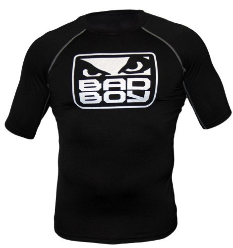 Bad Boy MMA All Black Rash Guard Short Sleeve Large