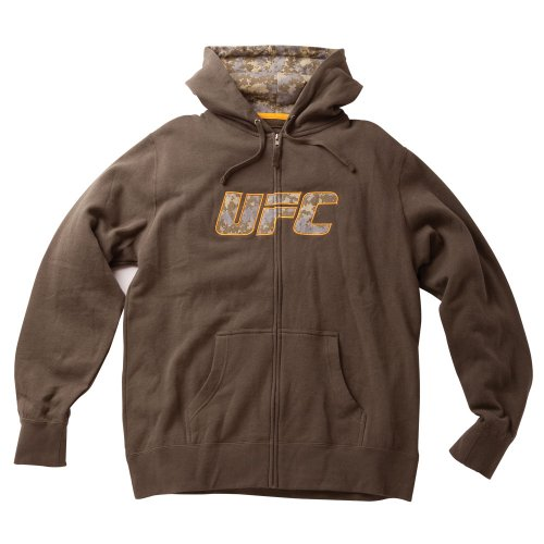 UFC Men's Digi Logo Zip Hoodie (Olive, Medium) Large