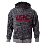UFC Men's Black/Gray Twisted Zip Up Hoodie (Large)
