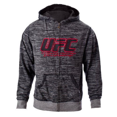 UFC Men's Black/Gray Twisted Zip Up Hoodie (Large) Large